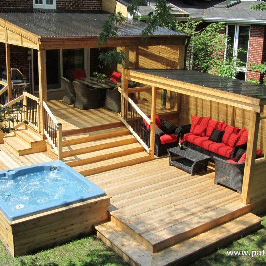 Patios avec spa archives patios et cl tures beaulieu for Plan de patio exterieur en bois