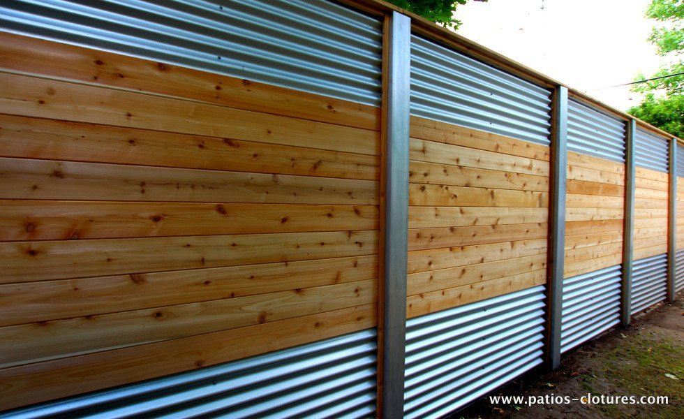 Hybrid Fence With Galvanized Steel Aluminum And Cedar