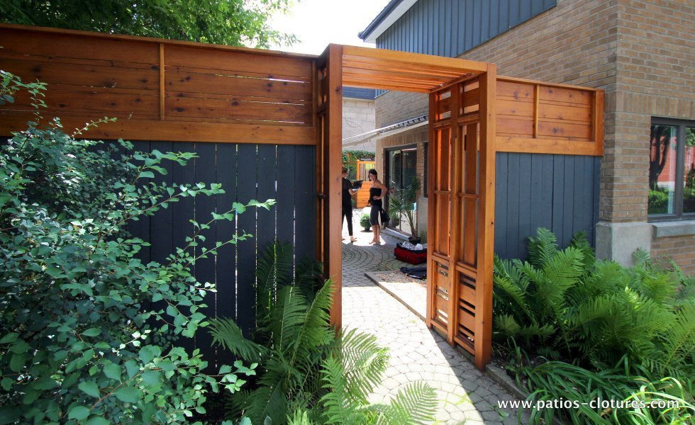 Cl ture verticale et horizontale patios et cl tures beaulieu for Porte de cloture bois