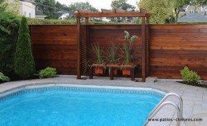 Pergola de clôture horizontale en bois de cèdre Émond
