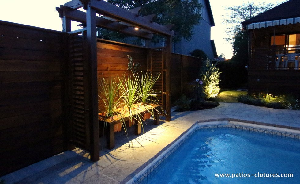 Horizontal fence and pergola with LED lights Emond 2