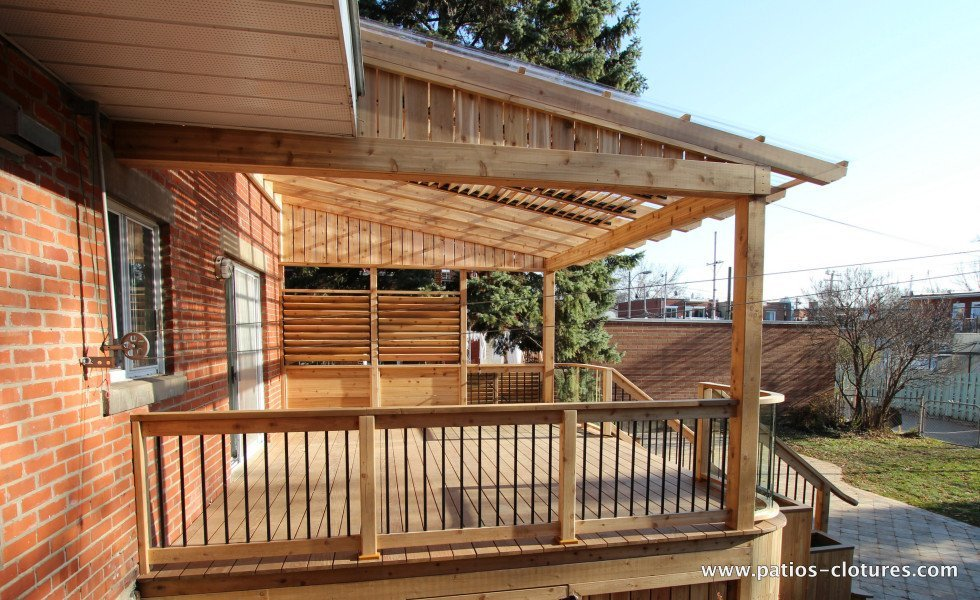 Pergola with polycarbonate and louvers for shade Pinet 2