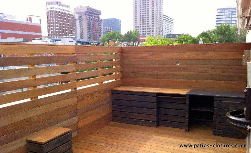 Terrasse sur le toit en ip coquereau patios et cl tures for Cloture pour piscine hors terre