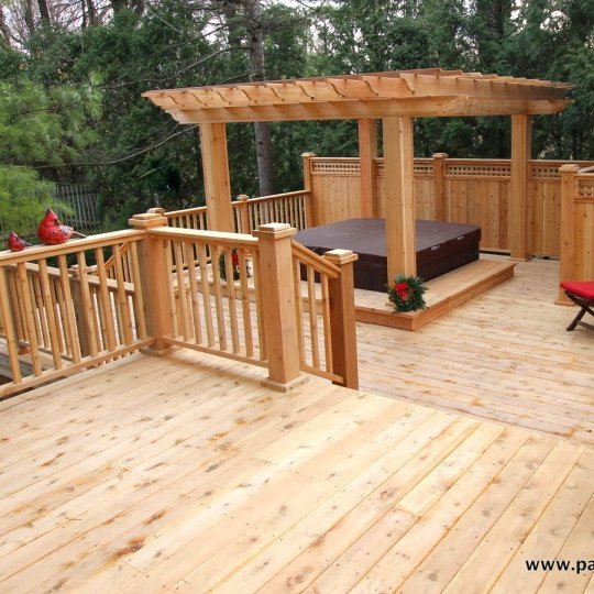 Video of deck with a pergola over the hot tub Dufresne