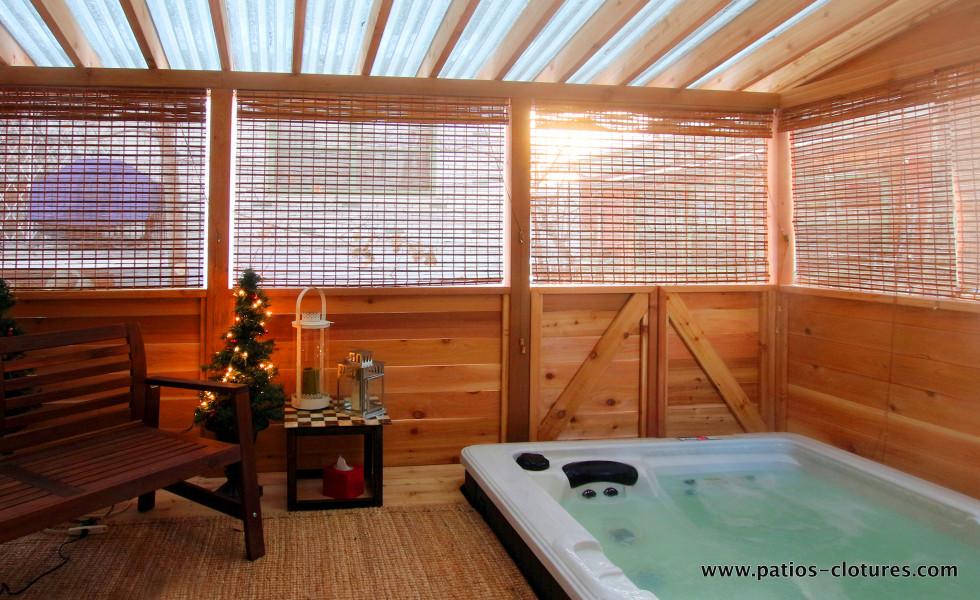 Cedar gazebo with polycarbonare roof