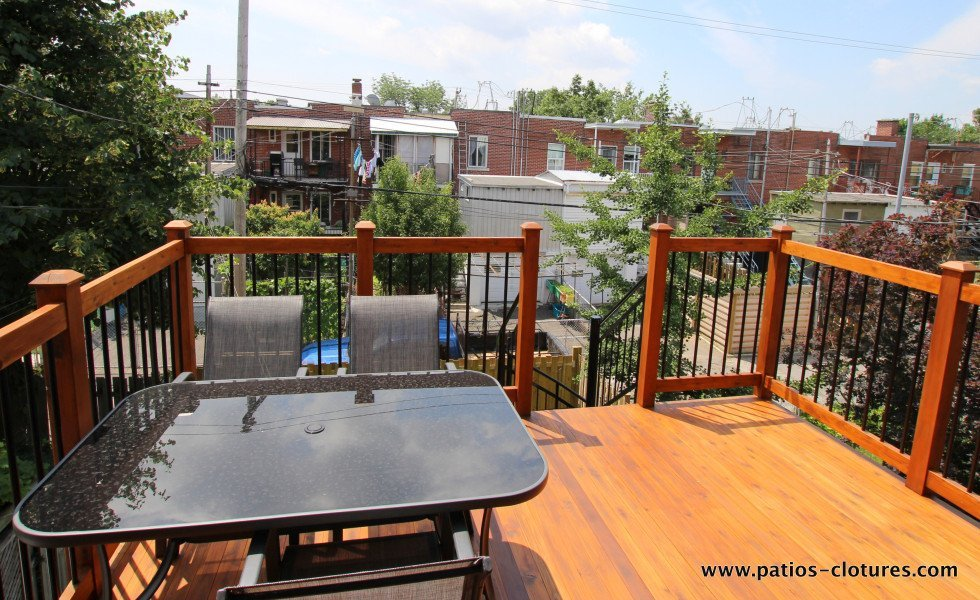 Top floor of a two-story deck Baril