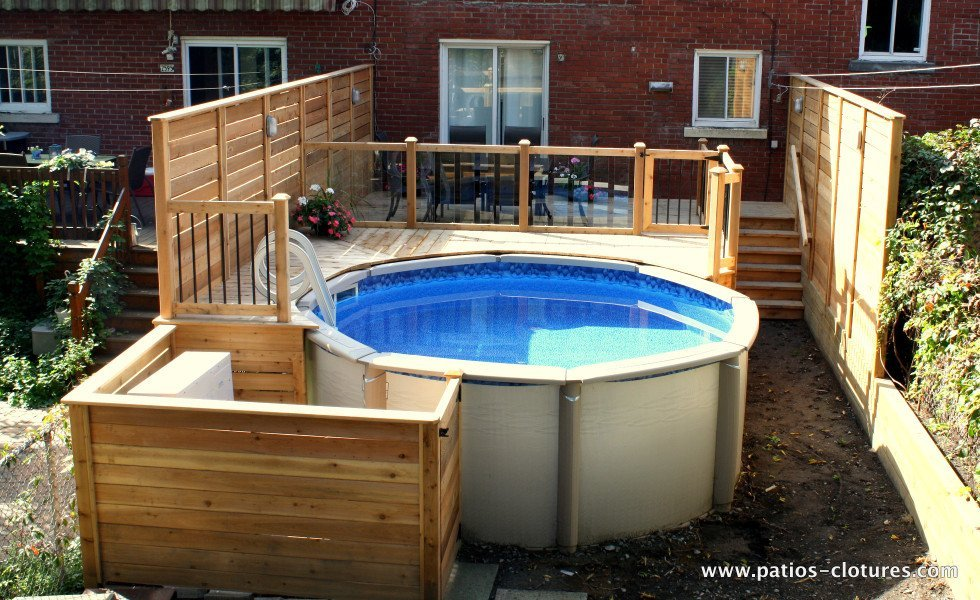 Deck verret patios et cl tures beaulieu Above ground pool privacy
