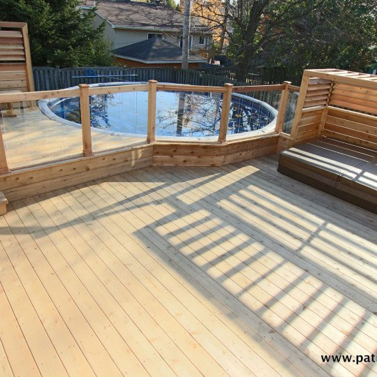 Above ground pool deck archives patios et cl tures beaulieu for Plan pour deck de piscine