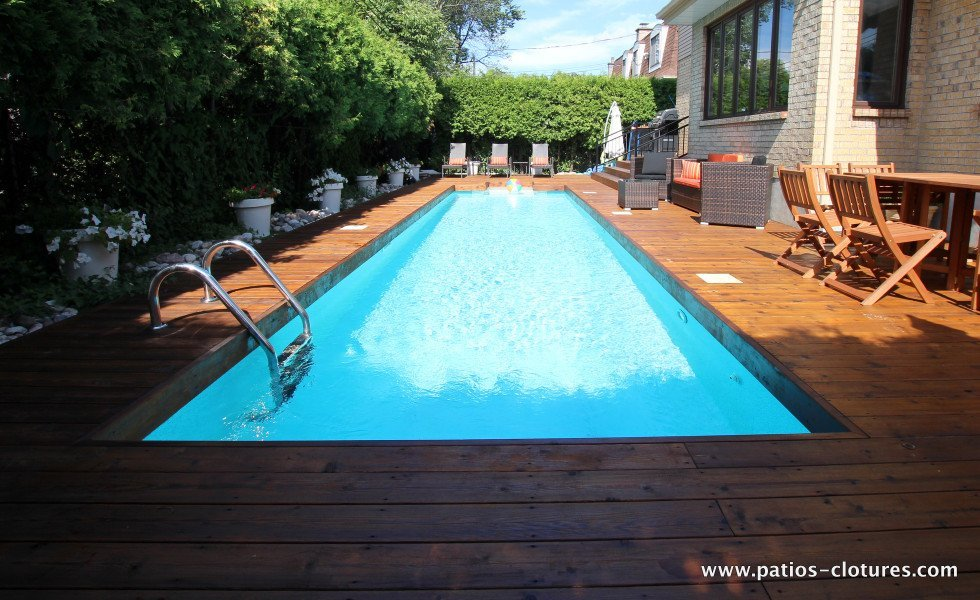 Red cedar wood deck around in-ground pool Riachy 3