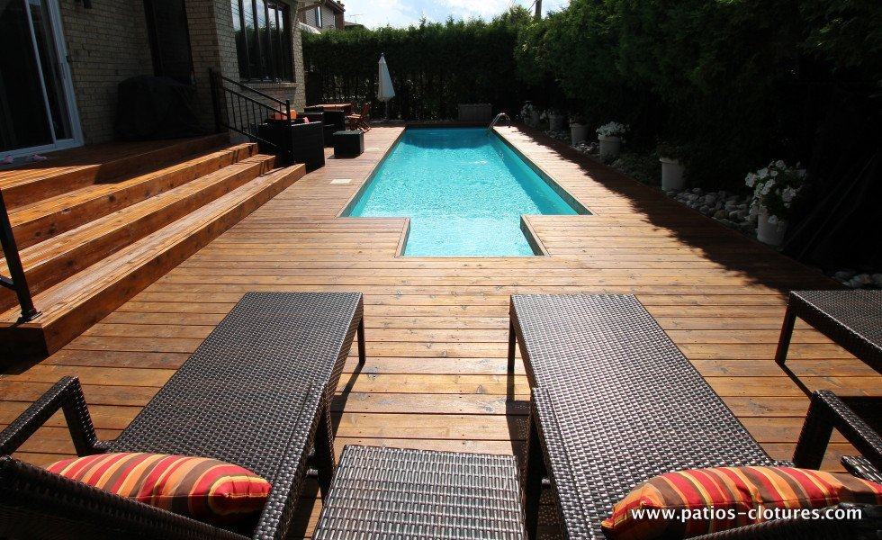 Red cedar wood deck around in-ground pool Riachy