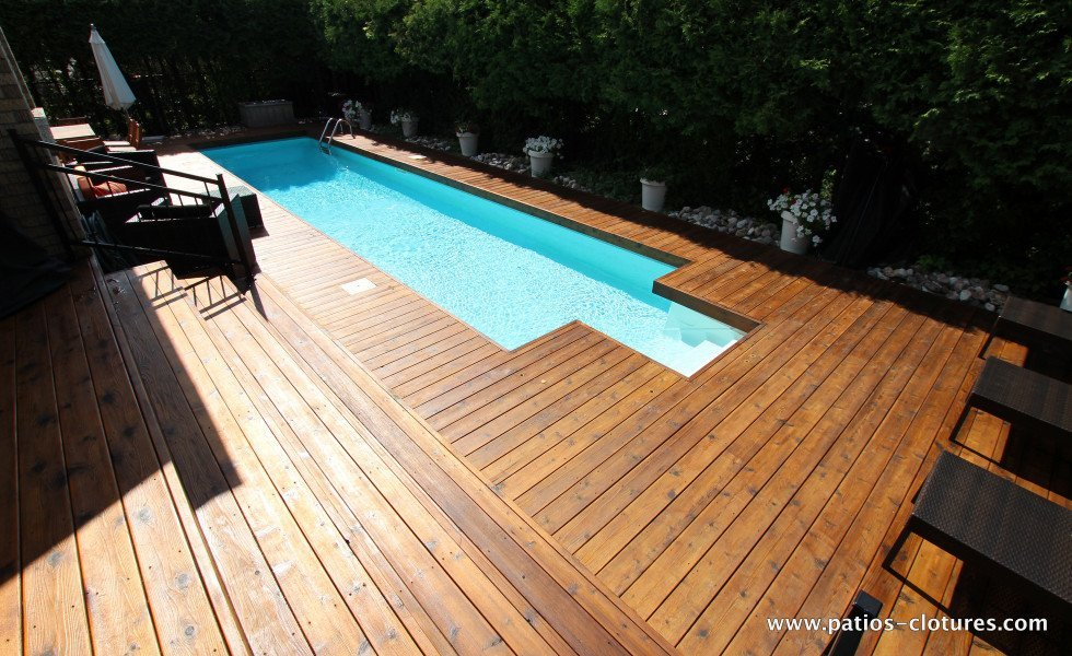 Red cedar wood deck around in-ground pool Riachy 4