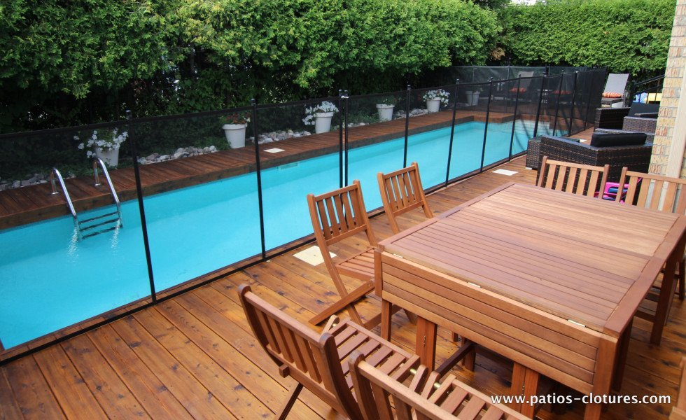 Removable fence for wood deck around in-ground pool Riachy