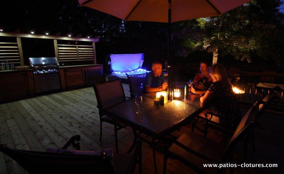 LED lights over outdoor kitchen deck Legault