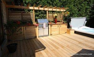 Cuisine extérieure sur patio avec spa Legault 2