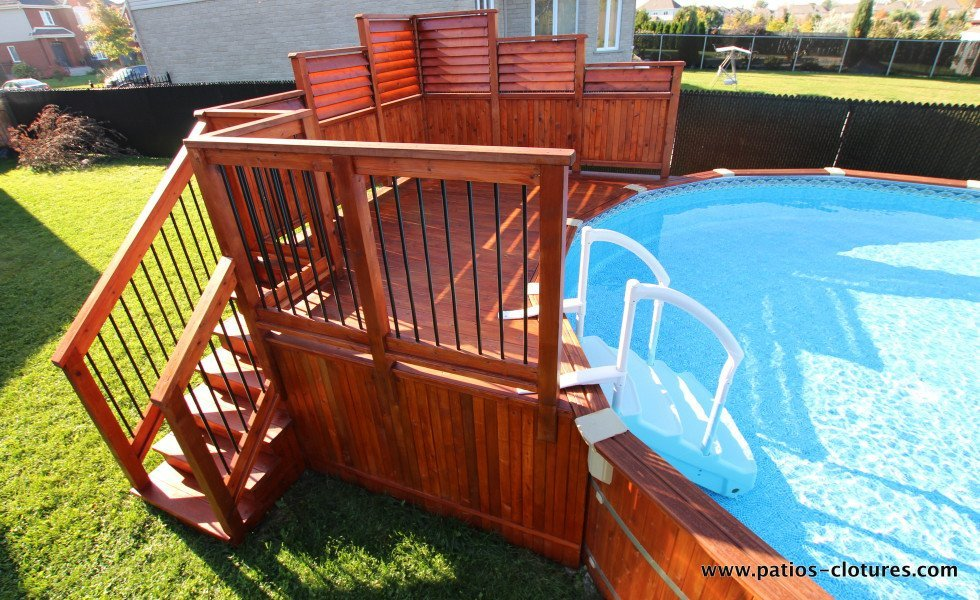 Cedar above-ground pool deck Isabelle