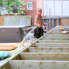 bois traité pour structure de patio seulement