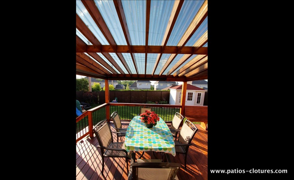 Cedar pergola with polycarbonate