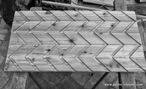 Cut for insertion of horizontal louvers in the fence