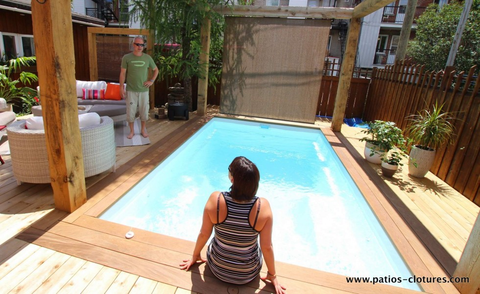 A cedar and ipe deck we built around an inground pool