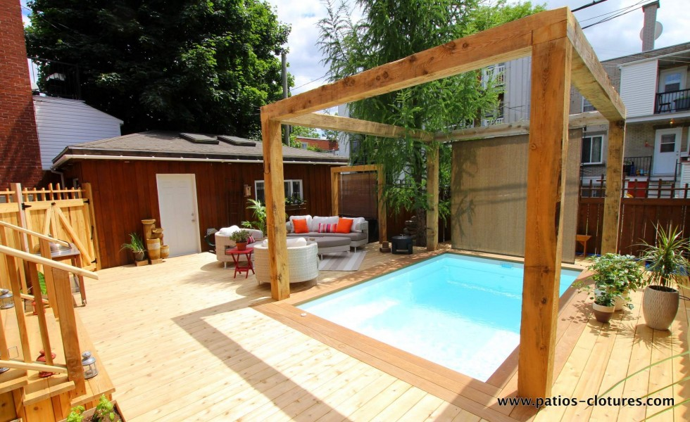 pergola made with rough cut hemlock wood