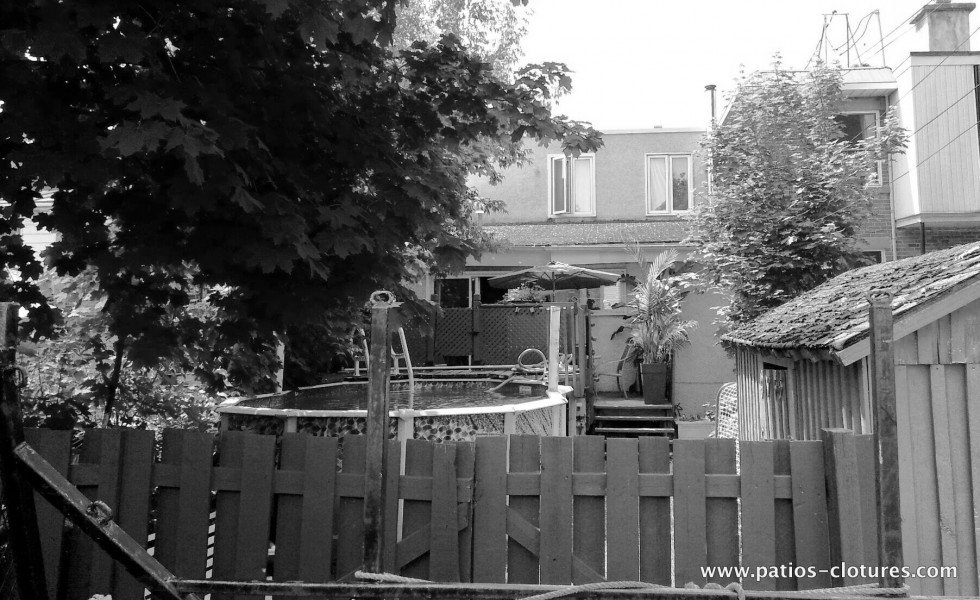 Before the transformation of the Vandal backyard, view from outside of the backyard