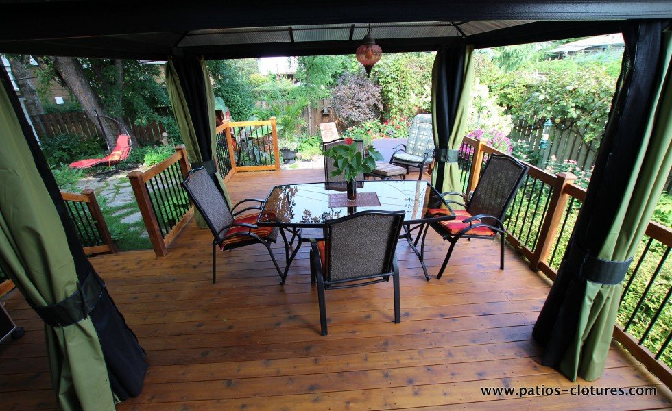Gazebo over dining area of a deck