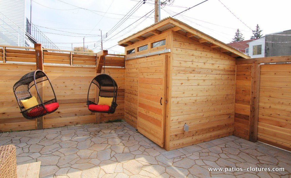 Fence and shed with sliding door