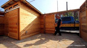 Video of a sliding door and shed with sliding door