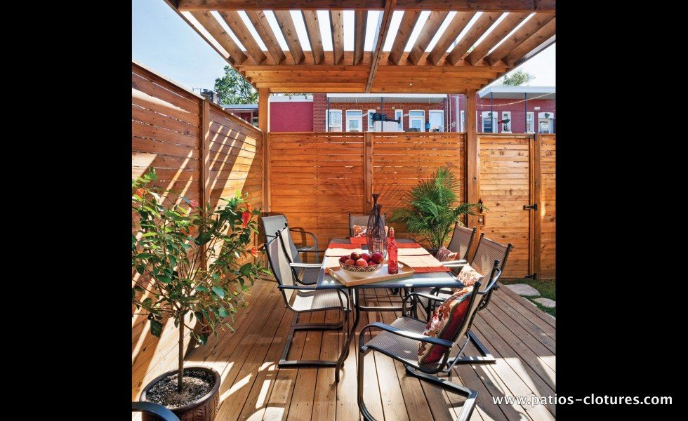 Pergola above the dining area of a deck