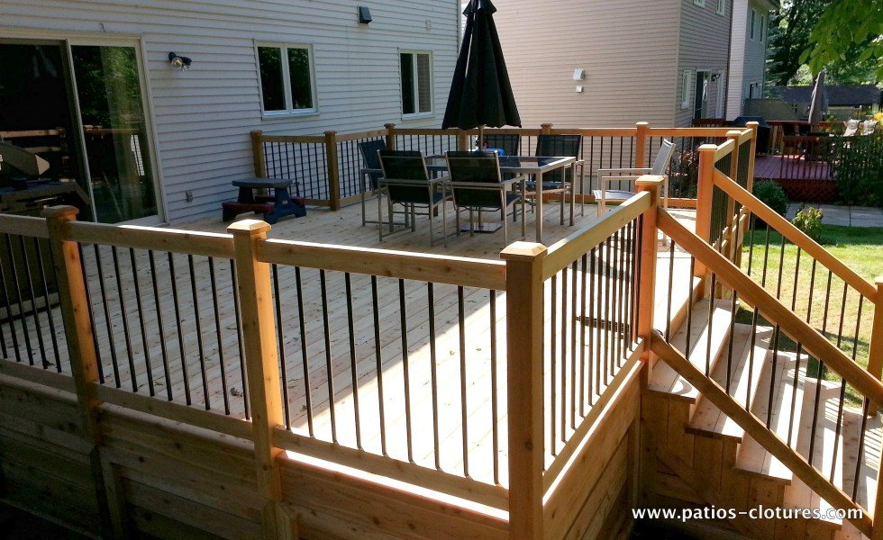 Large dining area on a classic red cedar deck