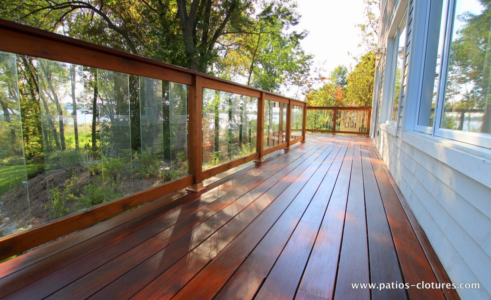 Ipe Balcony Floor And Red Cedar Railing With Tempered Gl Panels