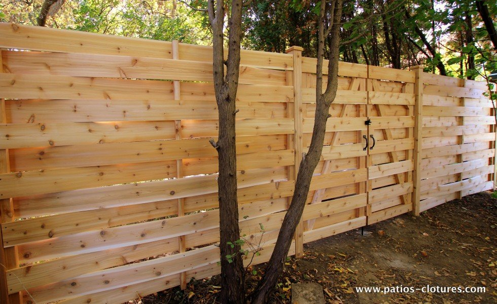Double door for a basket weave style fence