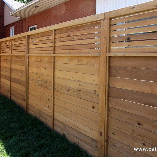 spaced horizontal fence at the top