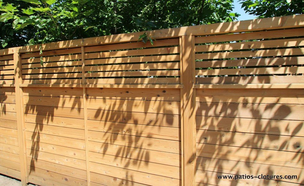 horizontal fence with small boards spaced
