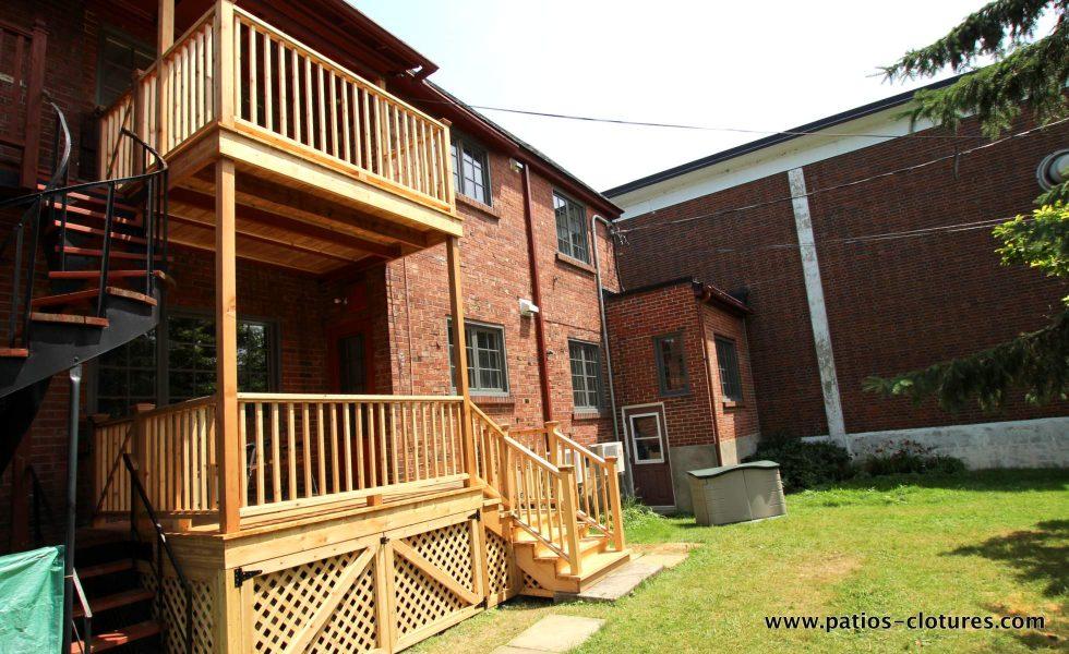 Two level cedar balconies Palmer - side view