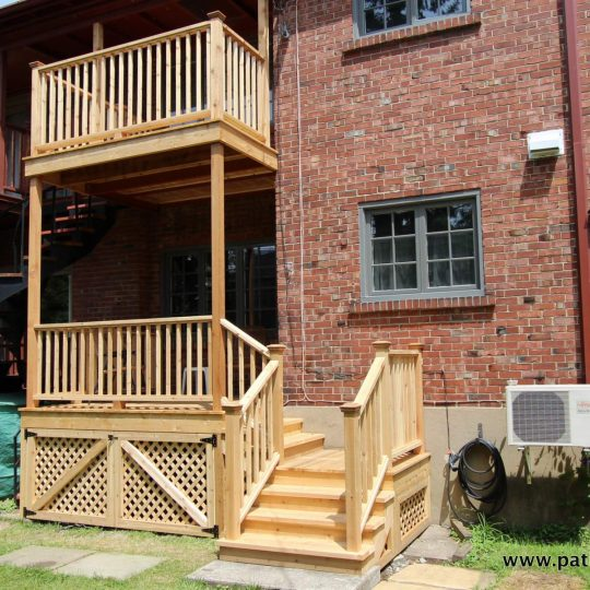 Two level cedar balconies Palmer