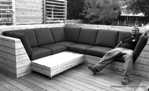 Custom cedar corner sofa with cushions. Blanchette Patio