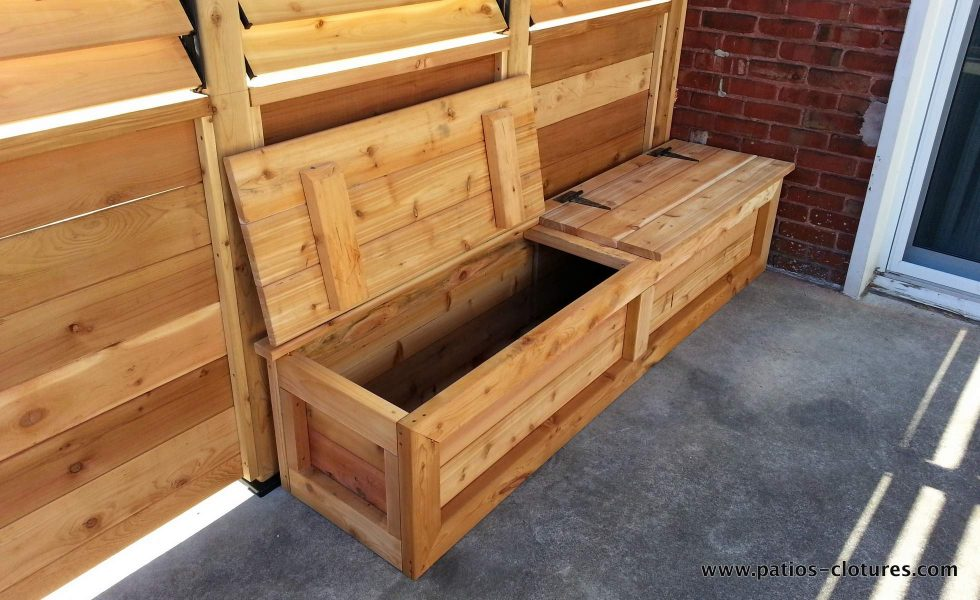Bench with storage under the seats