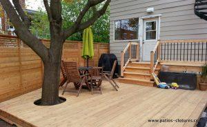 Low terrace made of cedar wood