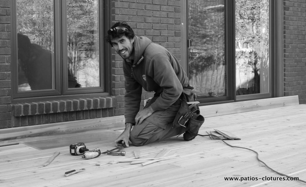 Nigel during the construction of the patio Sylvie.