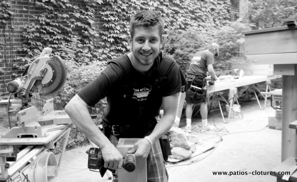 Jamie during the construction of the patio deck Labadie.