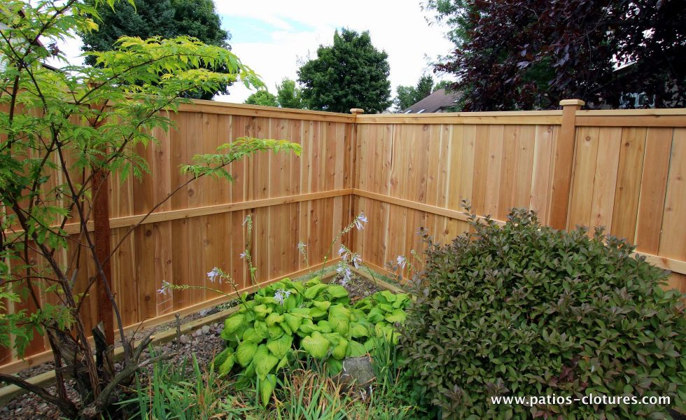 Cedar fence fence with vertical planks