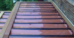 Au dessus d'un patio montrant les membranes du système d'étanchéité Rain Escape (patioHuot)