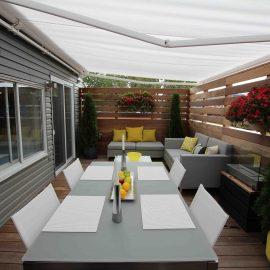Patio avec auvent rétractable translucide (patio Coquereau)