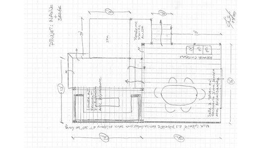 dessin vue d'oiseau pour construction d'un patio en bois - Patios et Clôtures Beaulieu