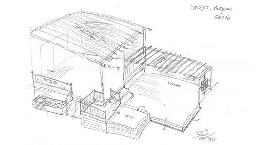 construire un patio en bois - dessin initial - Patios et Clôtures Beaulieu
