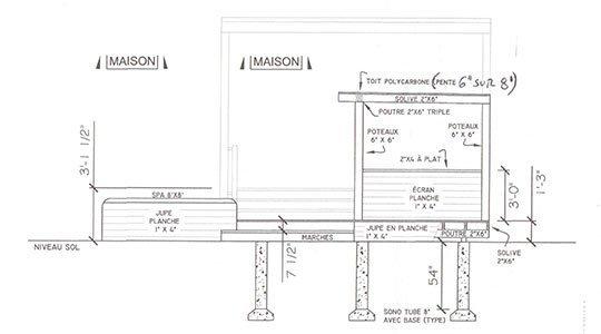 design de patio, vue de côté - Patios et Clôtures Beaulieu
