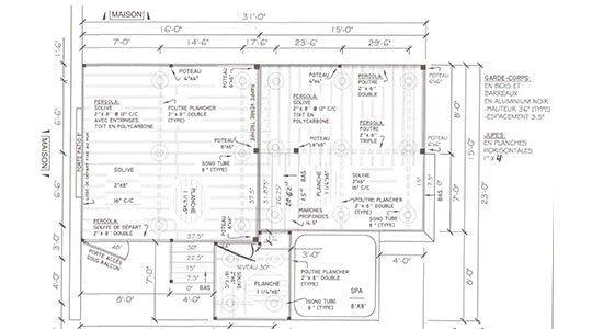 design de patio, dessin précis avec mesuires - Patios et Clôtures Beaulieu