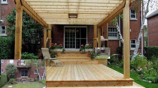 patio avec pergola en bois, une protection esthétique et efficace contre les regards indiscrets