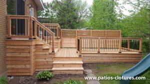 Cedar deck on two levels